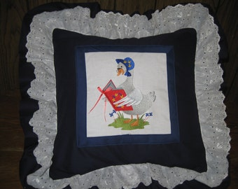 """Mother Goose Nursery Rhyme Pillow Cover.  16"""" X 16""""  With Double Ruffle.  Adorable and Unusual. Fairy Tale Pillow."""