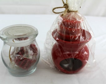 candle wax melter and extra melts ceramic red gift set