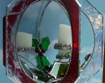 Holly and Berries Stained Glass, LED Candles for Romantic Mood, Handmade Christmas Whirl, Suncatcher