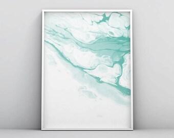 Pastel Art, Mint Green Wall Art, Mint Green Art, Watercolor Art, Light Green Abstract Art, Seafoam Green, Modern Pastel Printable Art Decor
