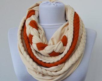 Cream & Brick Loop Scarf - Infinity Jersey Scarf - Partially braided Circle Scarf - Scarf Nekclace