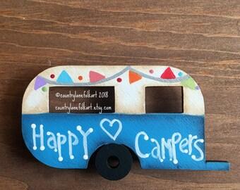 refrigerator magnets, camper magnet, happy camper, vintage camper, kitchen magnets,  painted wood camper, camper decor,  mothers day gift