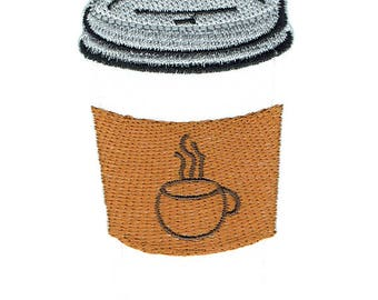 Coffee Cup Iron On Patch Embroidered Applique