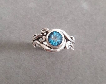 Sterling Silver Swirl & Leaf Swiss Blue Topaz Solitaire Ring