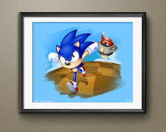 Limited Edition Sega Sonic the Hedgehog Video Game Art Print
