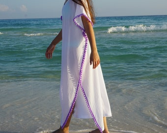 Beach cover ups, Long coverup with Pom poms, swimsuite coverup, gauze cotton coverup, resort wear, must have for any beach vacation