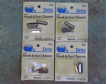 "Dritz Hook and Eye Closure 1"" Wide Sew On 4 Vintage Packages   Sewing and Crafts"