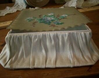 Something blue garter/ jewel box celluloid/paper antique