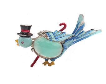 Coro Mr. Bird Jelly Belly Brooch 1940s - Top Hat and Cane Bird