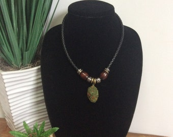 Braided Leather Cannabis Necklace