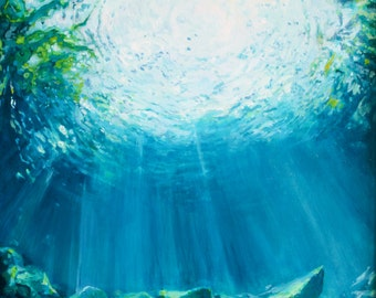 Art Print of underwater cave Large Archival Quality Print of Painting sunlight through an underwater cave