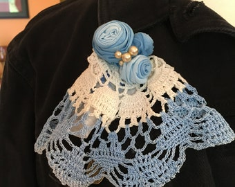 Doily Corsage or Brooch - Up-cycled Vintage Doily with Handmade Fabric Roses - Vintage Faux Pearls