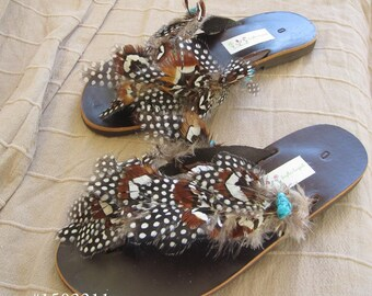 Greek leather sandals with real feathers - boho -flip flops -  Hippie