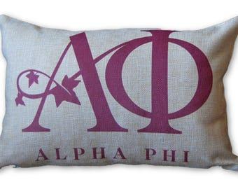 Alpha Phi Sorority Pillow - Dorm Decor - Greek Sorority Gift - Rush Week Gift - Decorative Pillow - Sorority Home Decor - Homecoming Gift