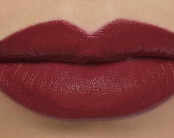 "Matte Lipstick - ""Spellbound"" deep red wine vegan lipstick with natural organic ingredients"