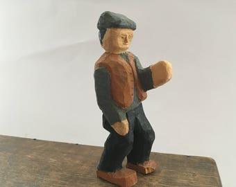 Vintage hand carved figurine Wooden statue Folk Art