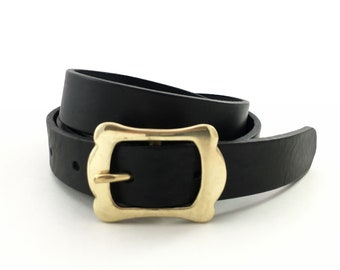 "Women Leather Belt in Black - 1"" - Feminin Gold Buckle - Thin Belt - Black Belt for Women - Waist Belt - Womens Gold Belt - Women Dress Belt"