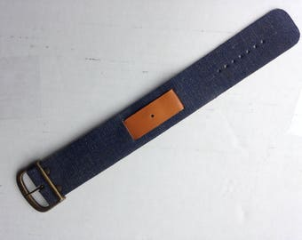 Vintage 1976 denim & leather watch band by Brite N.O.S
