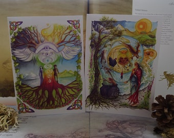 Art Card Pack, Set of 2 Cards, Art Cards, Card Pack, Pagan Cards, Spiritual Cards, Celtic Rainbow, Chakras, Celtic Art, World Tree, Goddess