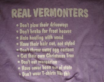 Vintage 80's Vermont Real Vermonters Pride Purple T Shirt Size S
