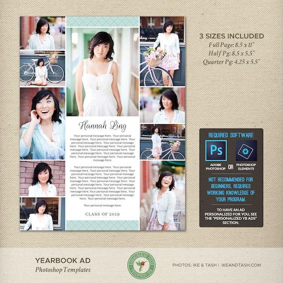 Senior Jahrbuch Ad Photoshop-Vorlagen Hingabe Tribut