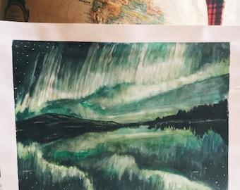 Green Sky ORIGINAL PAINTING, watercolor