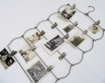 Twelve Clip Picture Photo Holder~Wedding Table Card Holder~Greeting Card Holder~Vintage Metal Pant Hanger Five Tiered Skirt Hanger