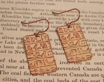 Egyptian earrings Heiroglyph earrings Egypt jewelry mixed media jewelry wearable art