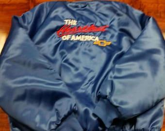 Chevrolet satin jacket, XL, vintage jacket, satin jacket, vtg