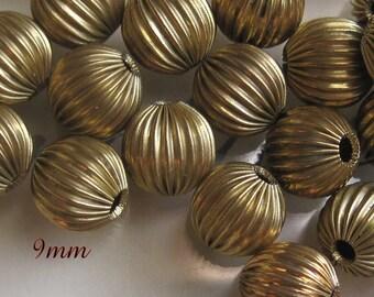 Vintage, Corrugated, Brass, 9MM, Round, Spacer, Bead,
