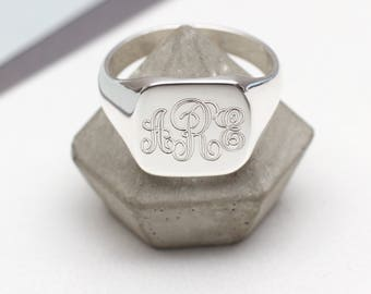 Mens Sterling Silver Monogram Square Signet Ring (HBMR01)