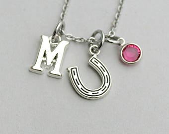 Personalized charm Necklace, Horse Shoe, Birthstone, Initial, Under 20, Good Luck Charm,