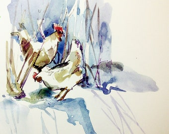 Foraging in the snow.Giglee print.A3.