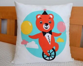 Decorative pillow cover, pillow cover, nursery pillow, kid's room pillow, throw pillow, bear pillow, blue pillow, cute pillow