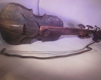 Vintage junk art violin with bow