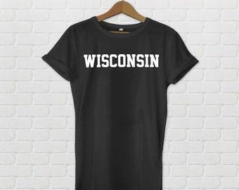 Wisconsin Varsity Style T-Shirt - Black
