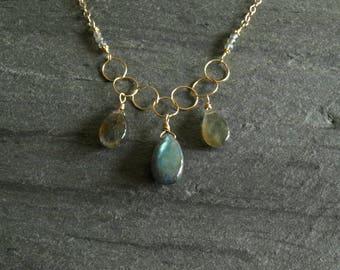 Natural Labradorite Necklace, gold chain, large smooth labradorite multi pendants, blue green flash, boho drop necklace, labradorite jewelry