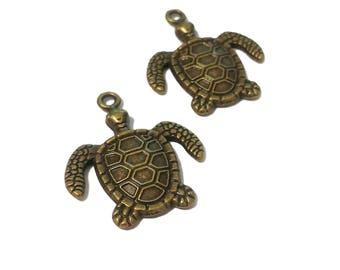 2 Sea Turtle Charms | Bronze Sea Turtle | Turtle Charm | Sea Turtle Pendant | Ocean Charm | Ready to Ship from USA | BR142-2