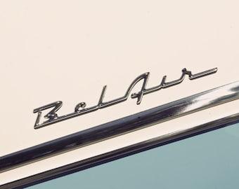 Classic Car Decor, Automotive Art, Chevy, Chevorlet Bel Air, Side Panel, Emblem, Large Wall Art, Garage Decor, Gift for him