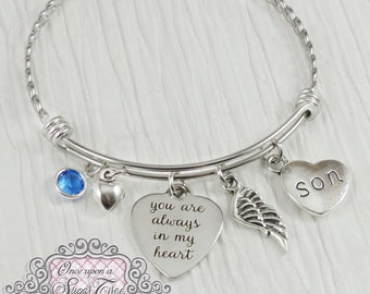 Memorial Jewelry, Son Memorial, Loss of Mother Bracelet,Remembrance, Dad Memorial,Loss of Daughter, You are always in my heart, wing, BANGLE
