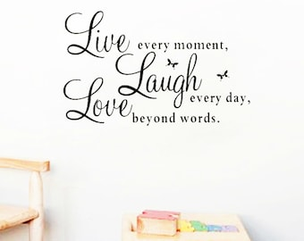 Live Laugh Love Wall Decal, Living room decor, wall art, wall decoration, wall sticker, home decor, room decoration, home decoration