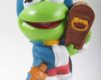 Pirate Kermit With Treasure Trove, Coin Bank, Vintage Toy, Hard Plastic, Kermit The Frog, Muppets, Figurine, Blue Coat, Hollow ~ 160917