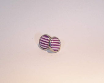 Small Purple and Clear Purple Striped Cabochon Button Style Stud Earrings 10mm Kawaii Purple and White Stripe Stud Earring Small Purple Stud