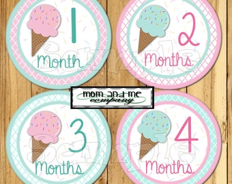 Baby Girl Monthly stickers Ice Cream Icecream baby girl stickers Baby Shower gift baby stickers Infant month stickers decals Teal and Pink