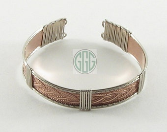 Bracelet - Curing Copper & Stainless Steel Cuff (B025)