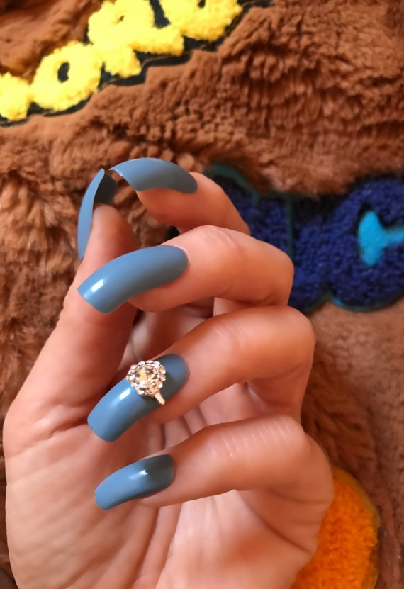 Blue grey long american curve false nails coffin claw square