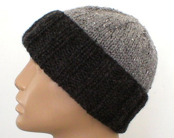 Gray watch cap, slouchy hat, brimmed beanie, charcoal pewter gray, striped hat, gray hat, mens womens hat, toque, knit hat, color block hat