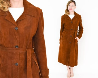 70s Brown Suede Coat | Rust Leather Trench Coat | Wilson Leather | Large