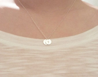 Personalized silver initial - Sterling Silver initial necklace, two sterling silver disc charms EP006