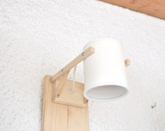 Wall lamp / sconce light , mat white... eco friendly and handmade : recycled from tomato can !